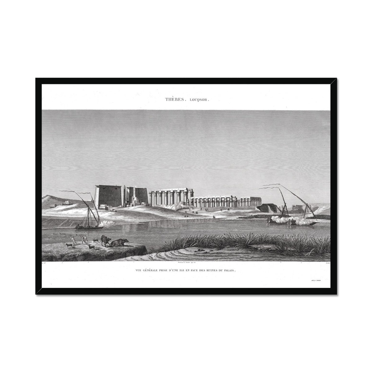 View of the Palace Ruins - Luxor - Thebes Egypt -  Framed Print