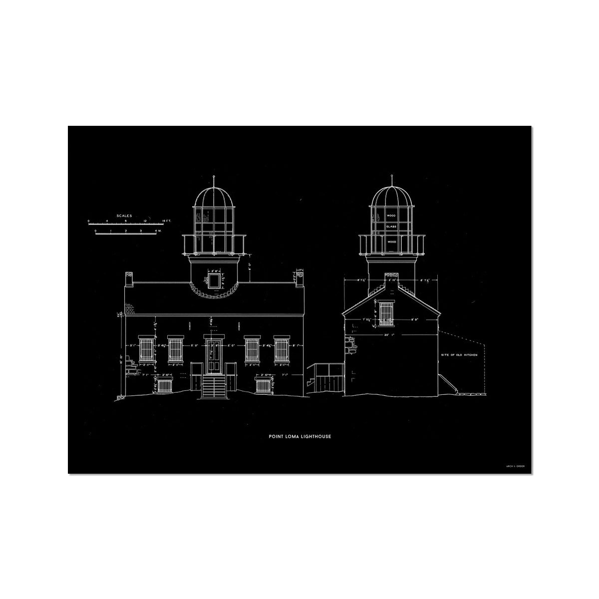 Point Loma Lighthouse - East and North Elevations - Black -  Etching Paper Print
