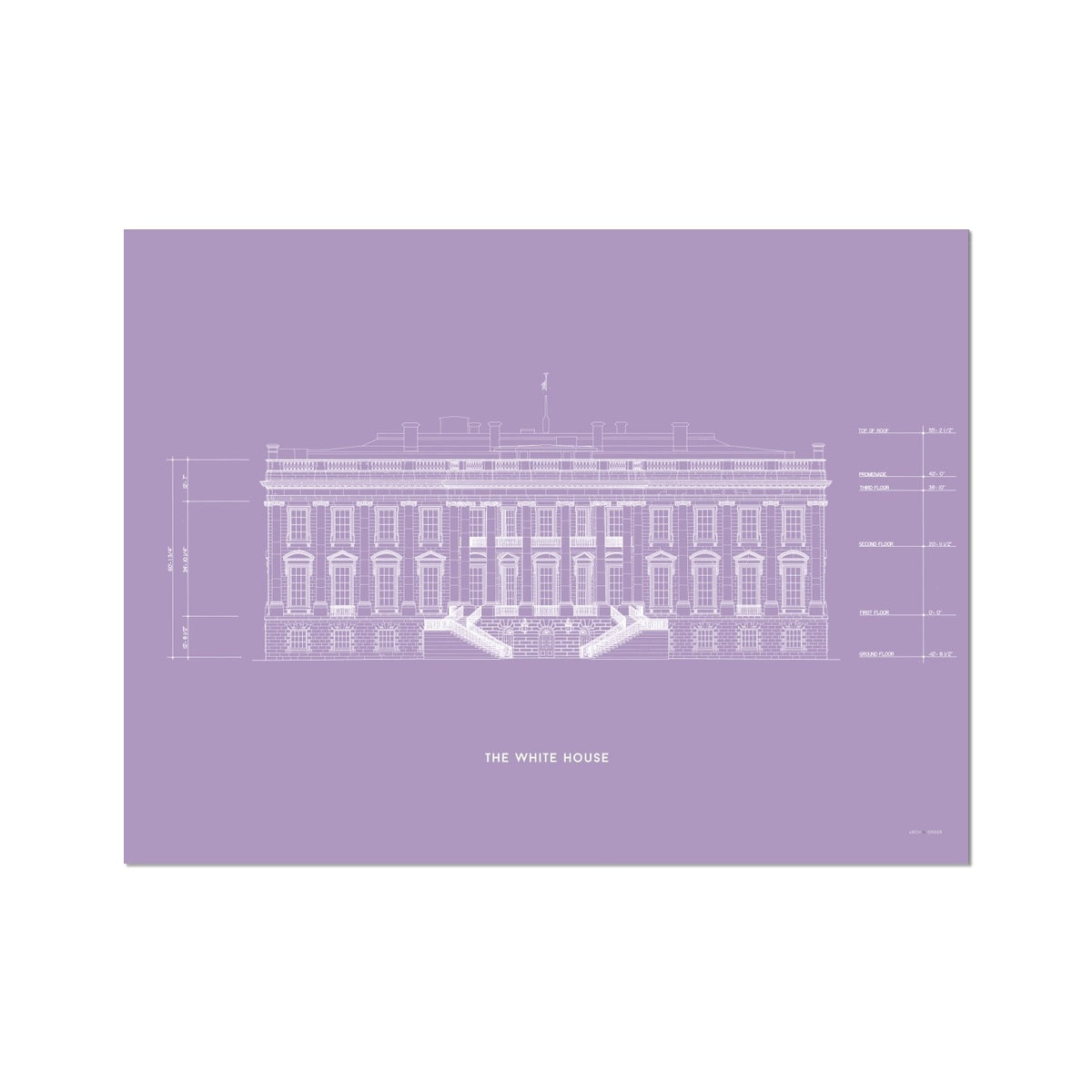 The White House South Elevation - Lavender -  Etching Paper Print