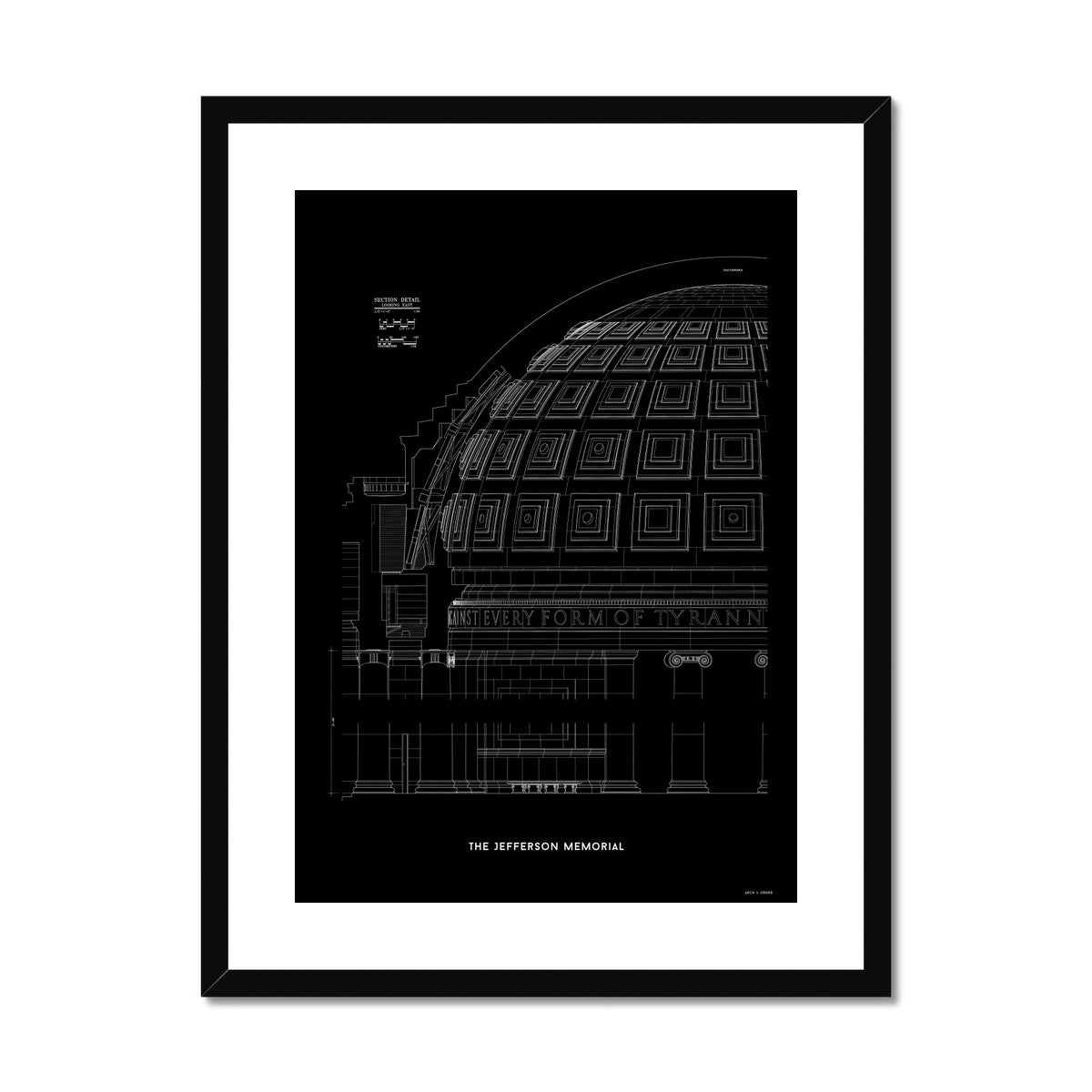 The Jefferson Memorial Section Detail - Black -  Framed & Mounted Print