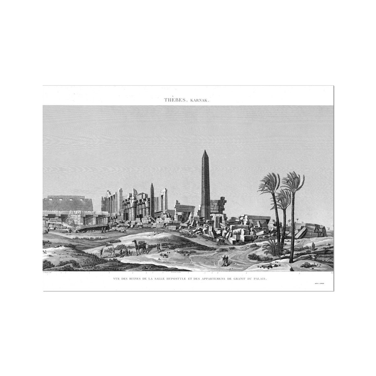Ruins of the Hypostyle Hall - Karnak - Thebes Egypt -  Etching Paper Print