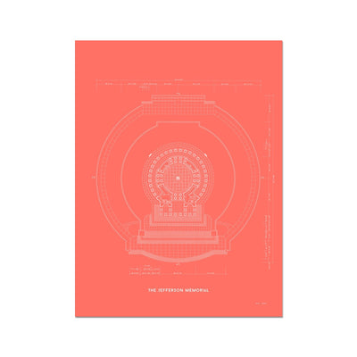 Jefferson Memorial Main Level Plan - Red -  Etching Paper Print