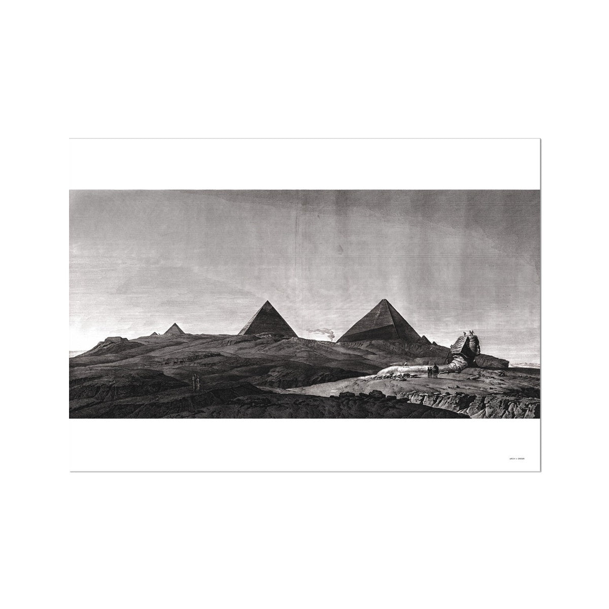 View of the Pyramids of Giza and Sphinx - Memphis Egypt -  Etching Paper Print