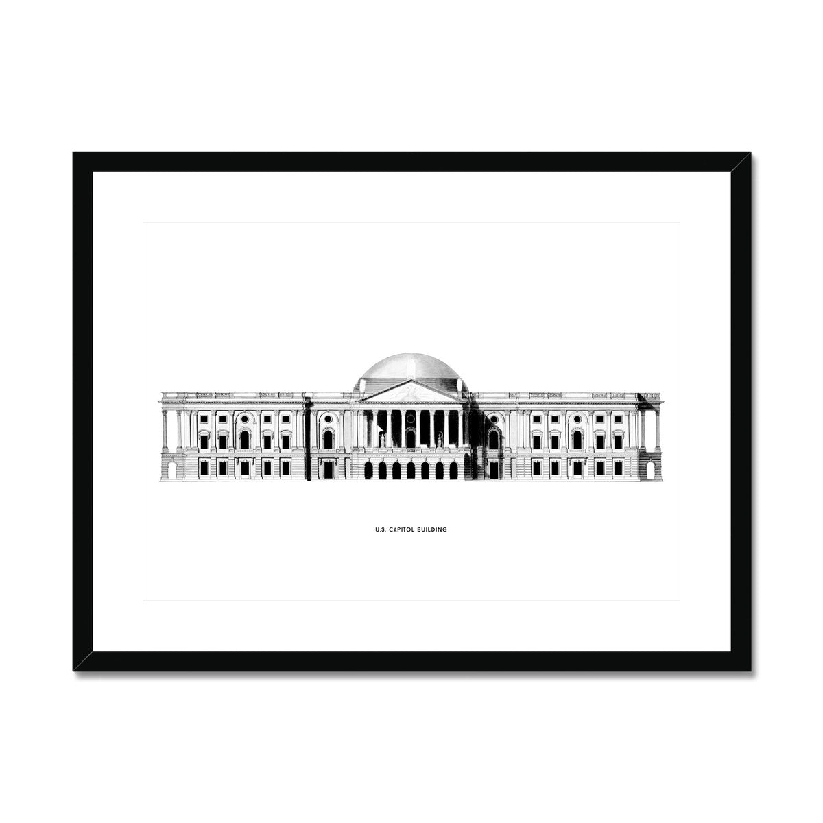The U.S. Capitol Building - 1793 East Elevation - White -  Framed & Mounted Print