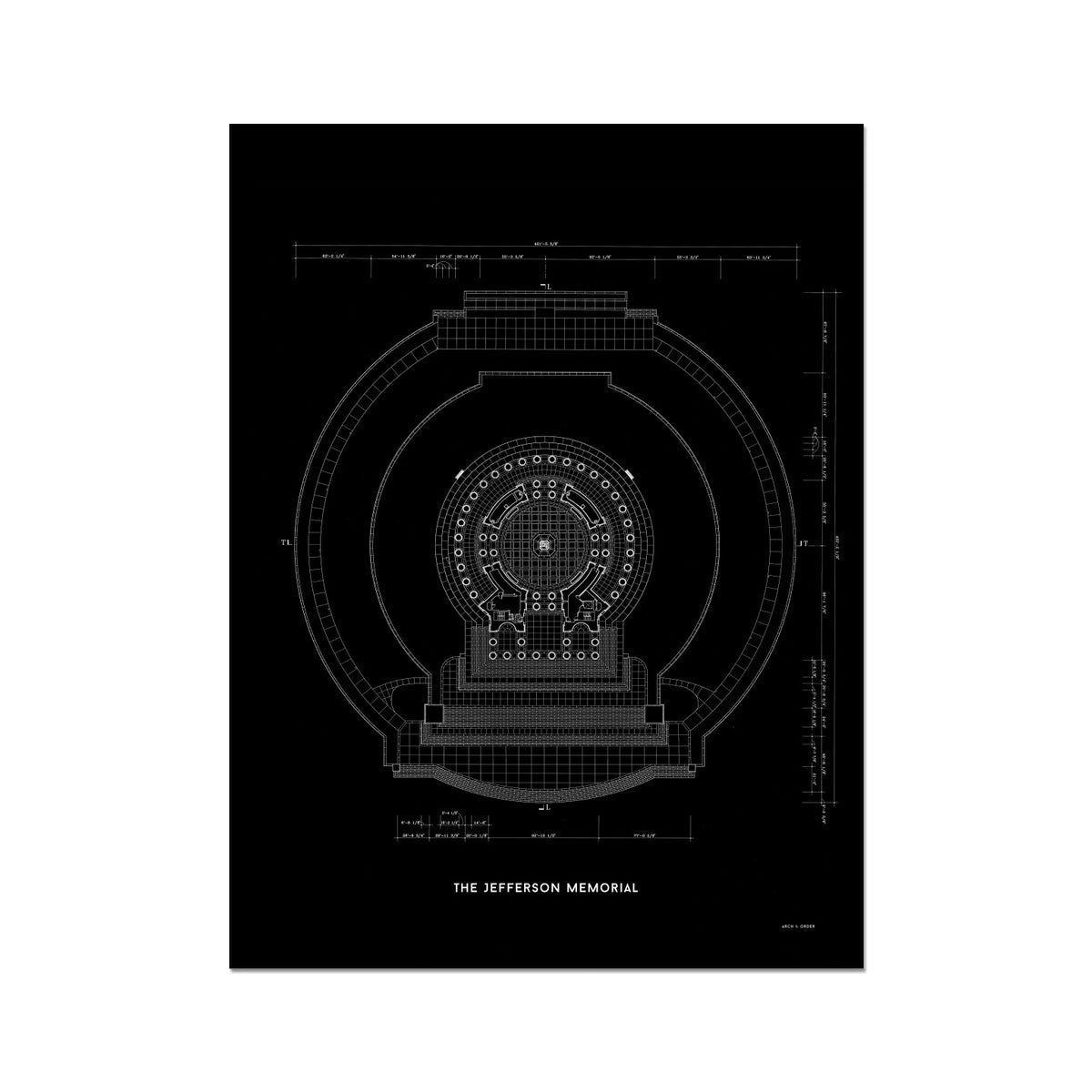 Jefferson Memorial Main Level Plan - Black -  Etching Paper Print