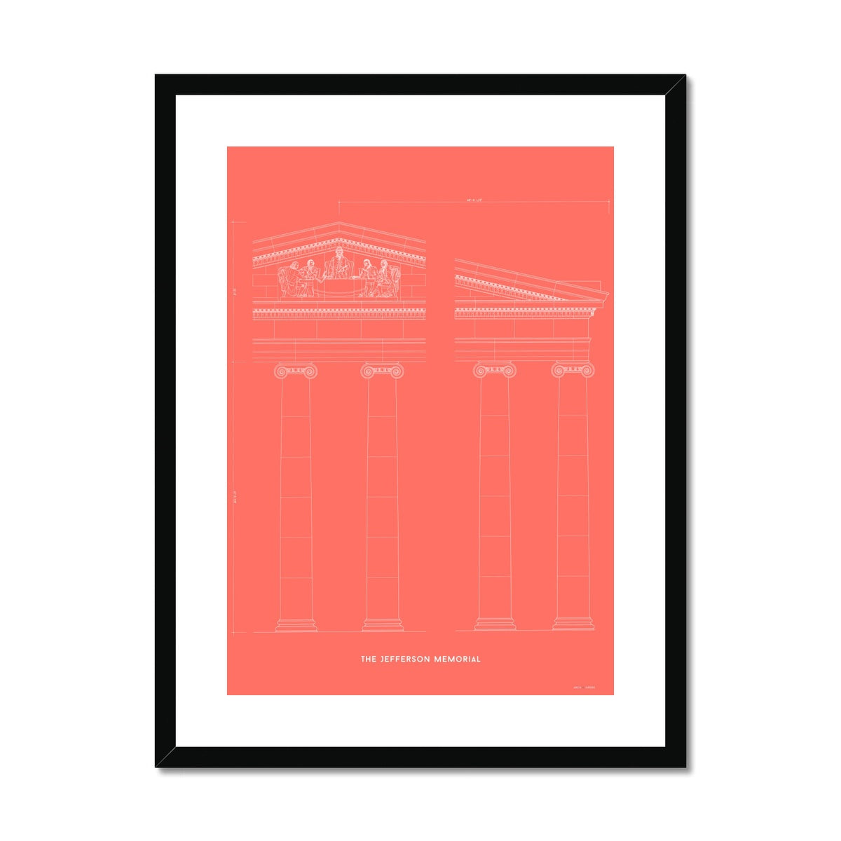 The Jefferson Memorial Portico Detail - Red -  Framed & Mounted Print