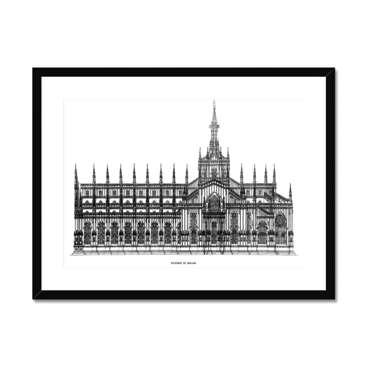 The Milan Cathedral - Side Elevation - White -  Framed & Mounted Print