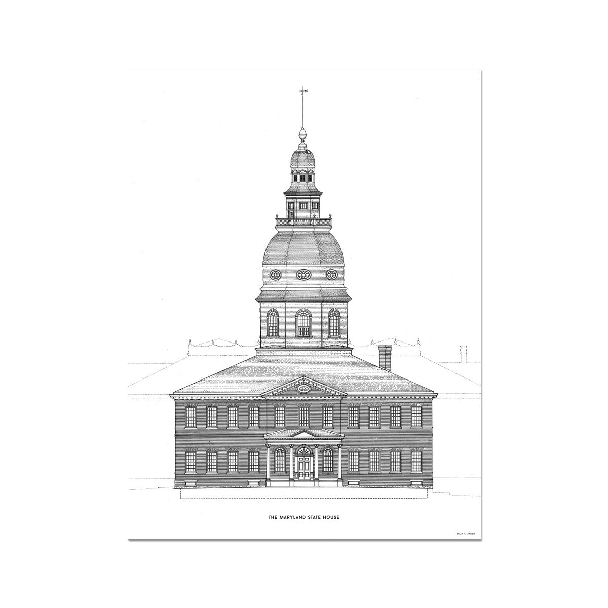 The Maryland State House - Southeast Elevation Detail - White -  Etching Paper Print