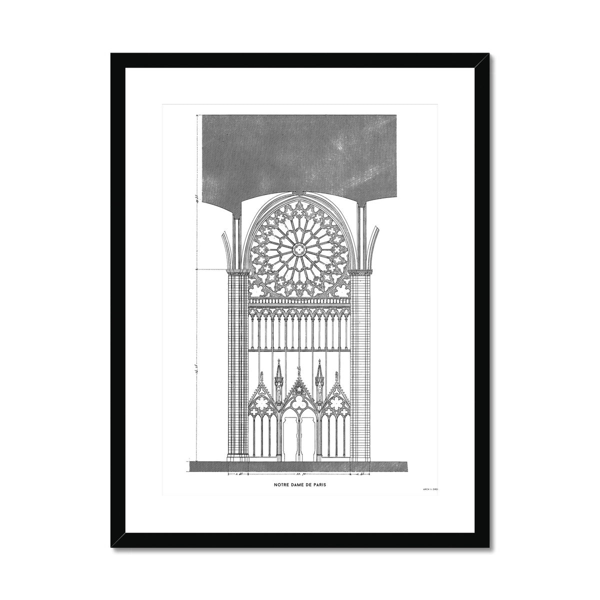 Notre Dame de Paris - South Rose Window Elevation - White -  Framed & Mounted Print
