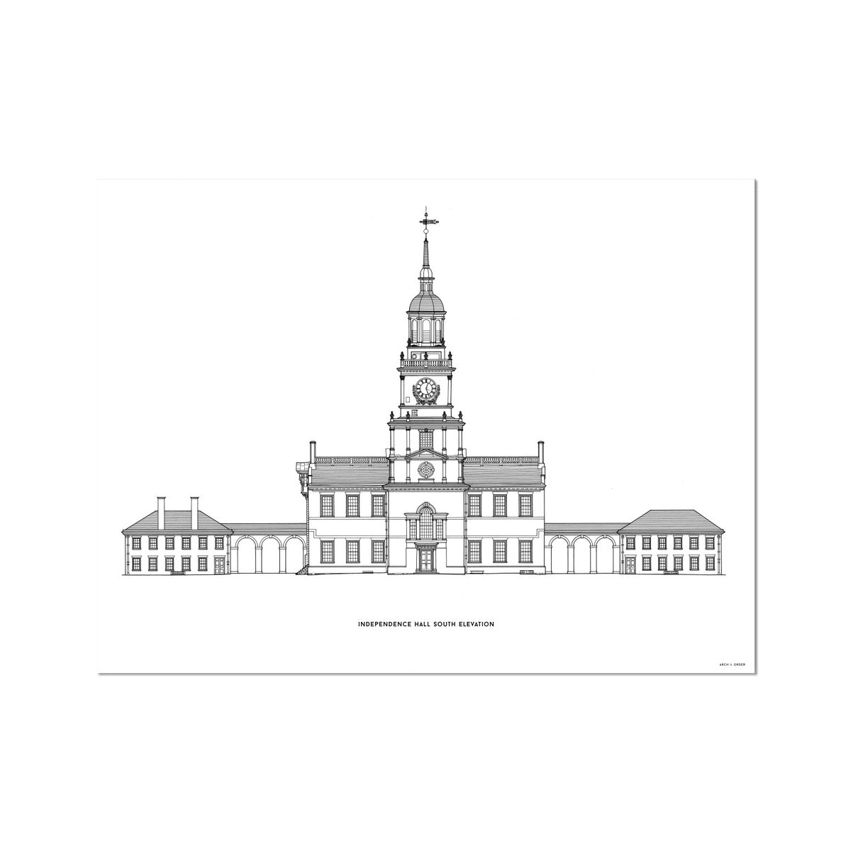Independence Hall - South Elevation - White -  Etching Paper Print