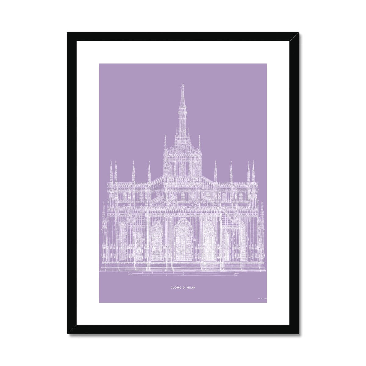The Milan Cathedral - Primary Elevation - Lavender -  Framed & Mounted Print