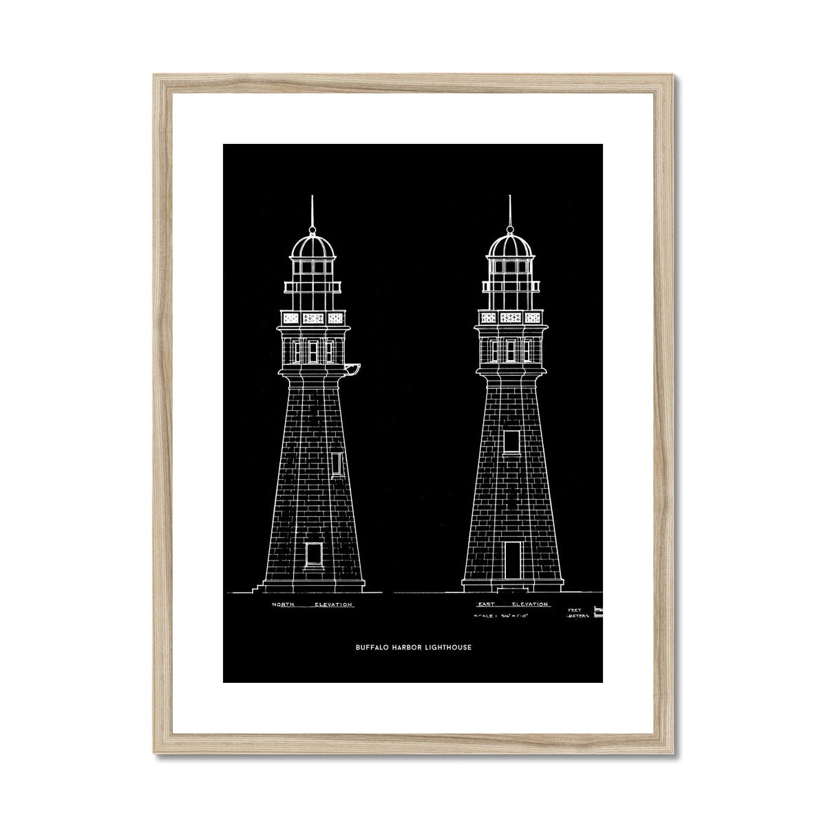 Buffalo Harbor Lighthouse - North and East Elevations - Black -  Framed & Mounted Print