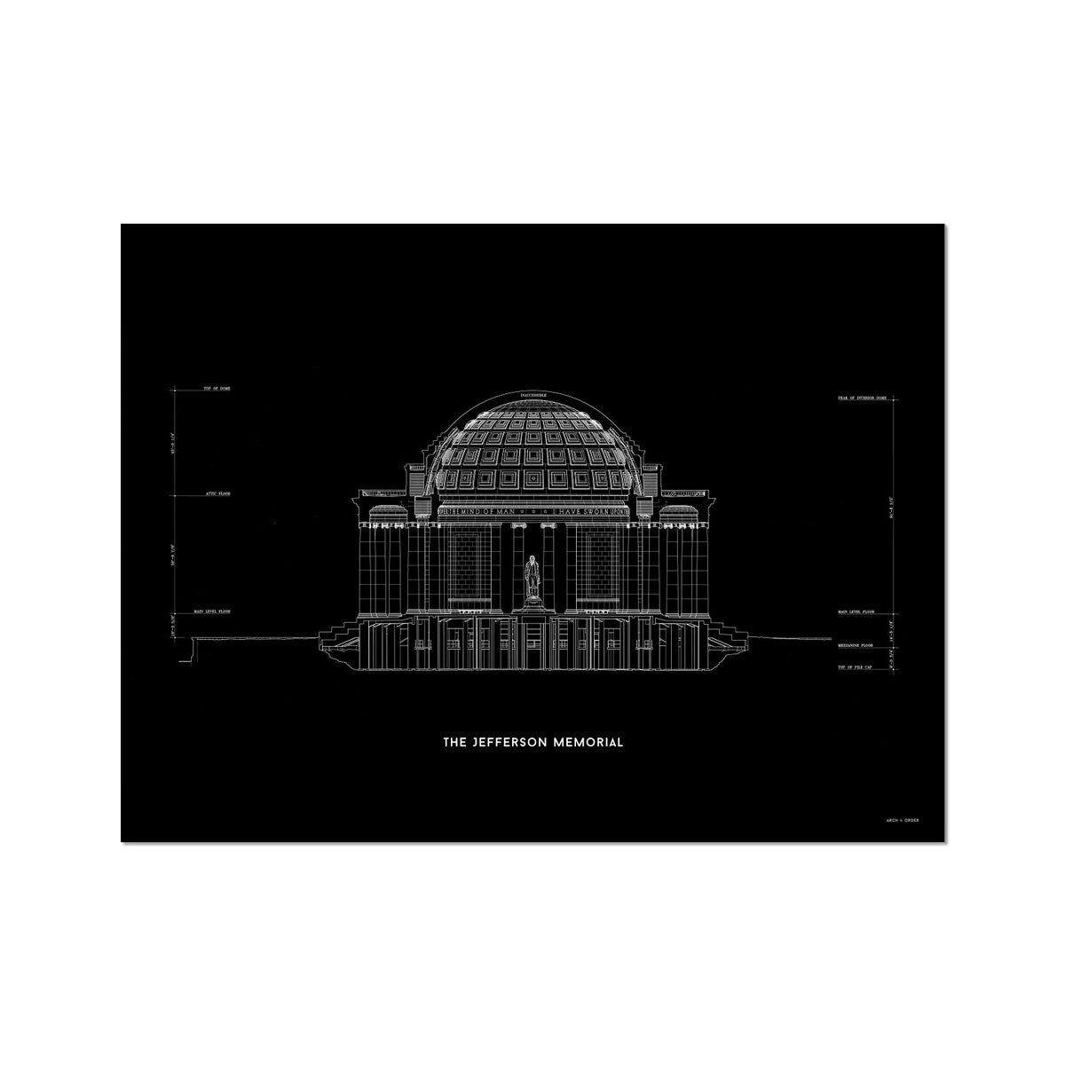 The Jefferson Memorial North Elevation Cross Section - Black -  Etching Paper Print