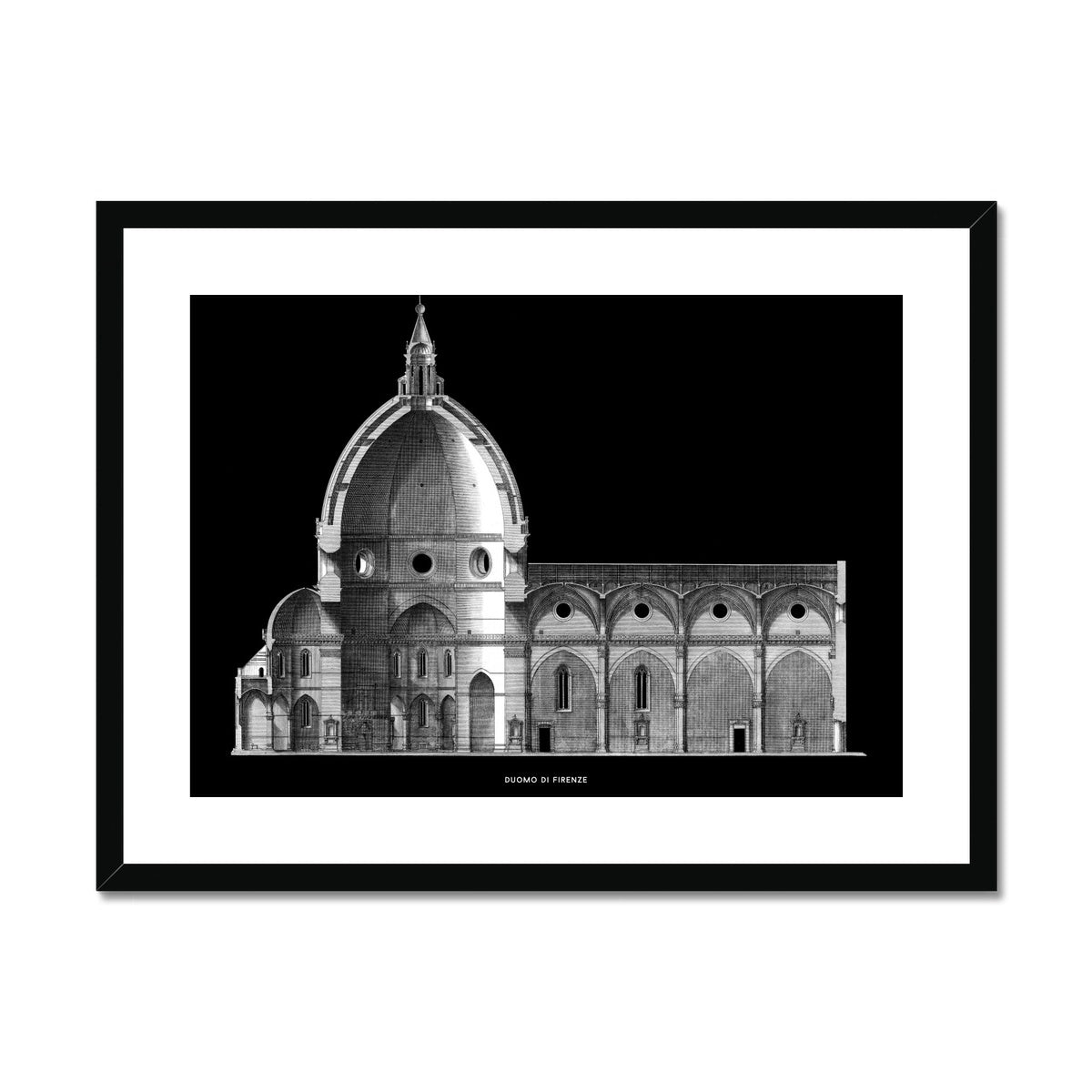Duomo di Firenze - Transverse Cross Section - Black -  Framed & Mounted Print