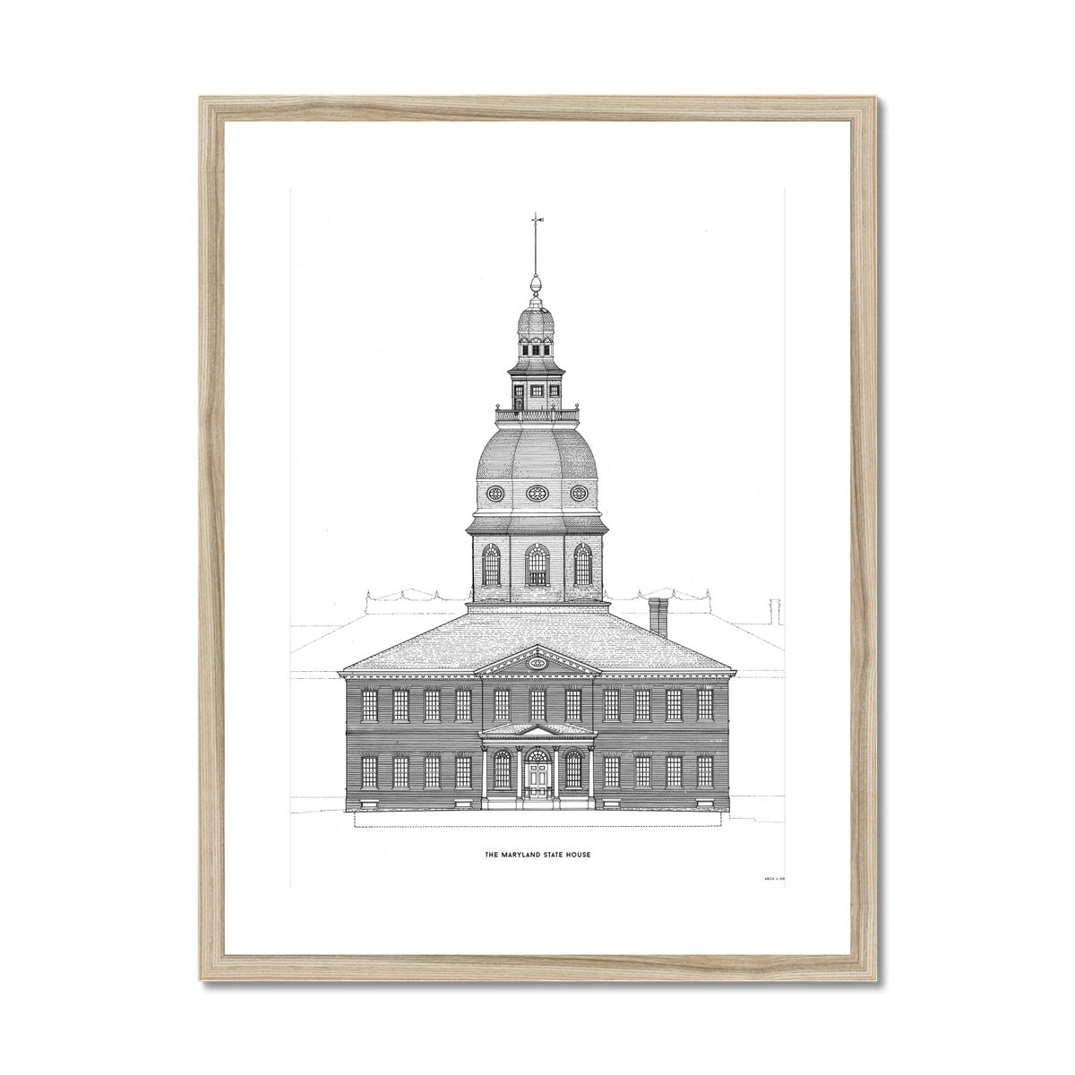 The Maryland State House - Southeast Elevation Detail - White -  Framed & Mounted Print