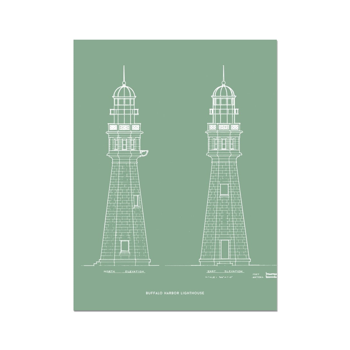 Buffalo Harbor Lighthouse - North and East Elevations - Green -  Etching Paper Print