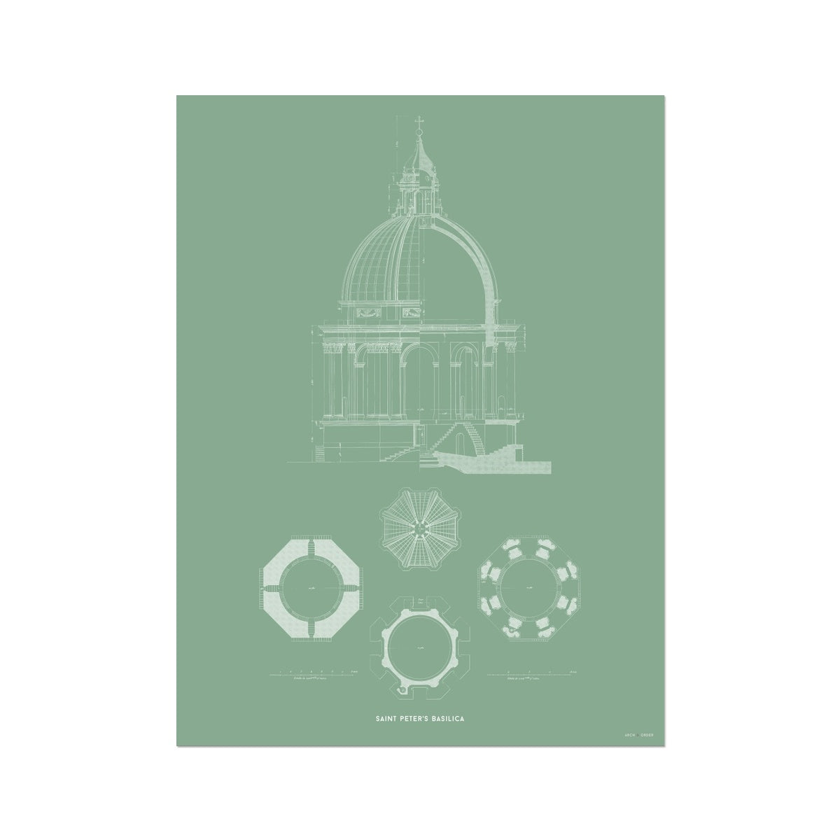 Saint Peter's Basilica - Dome Detail - Green -  Etching Paper Print