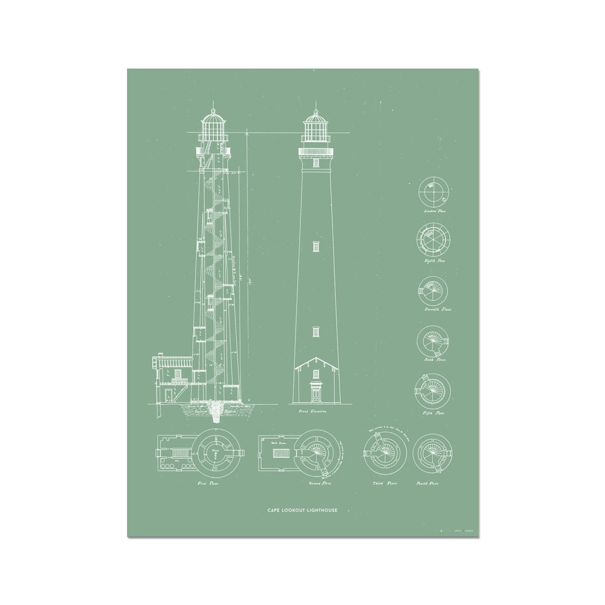 Cape Lookout Lighthouse - Construction Drawings - Green -  Etching Paper Print