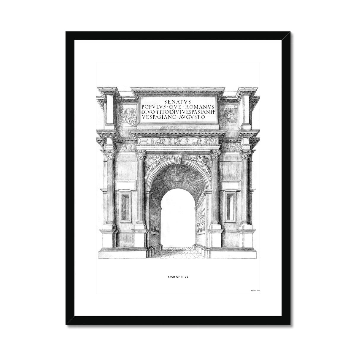 The Arch of Titus - White -  Framed & Mounted Print