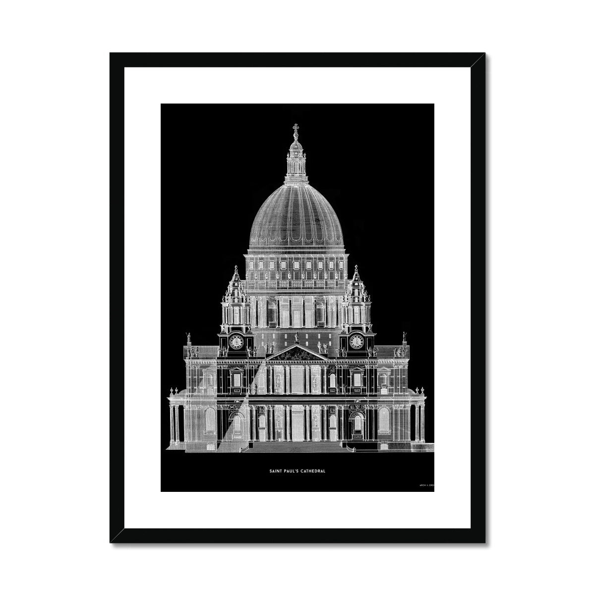 Saint Paul's Cathedral - Primary Elevation - Black -  Framed & Mounted Print