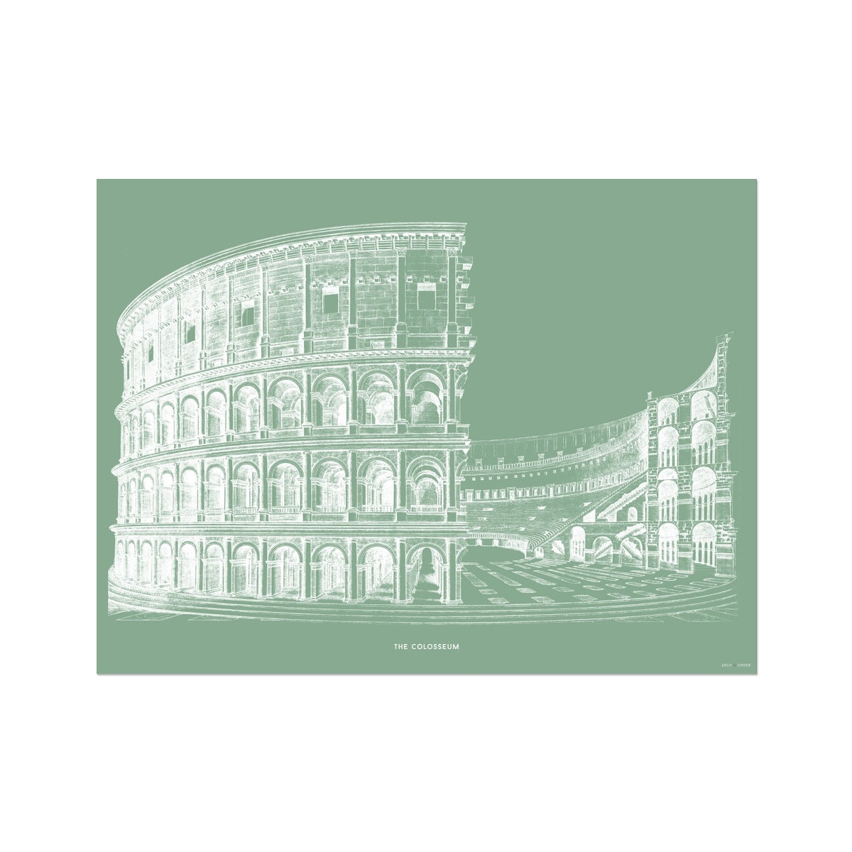 The Colosseum - Alternative Cross Section - Green -  Etching Paper Print