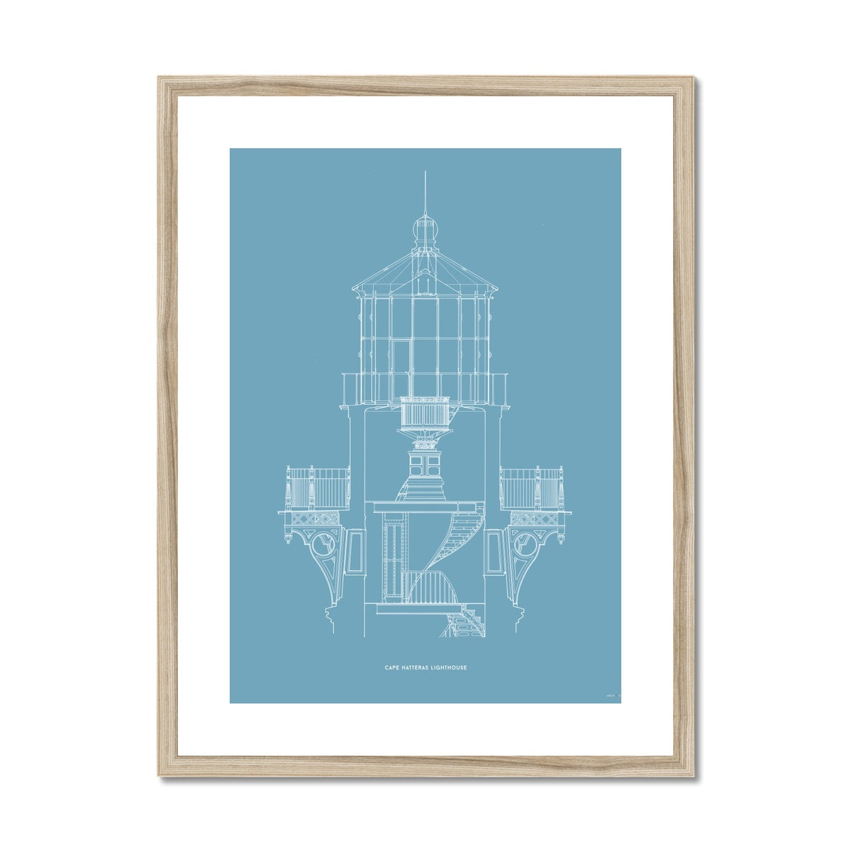 Cape Hatteras Lighthouse - Lantern Cross Section - Blue -  Framed & Mounted Print
