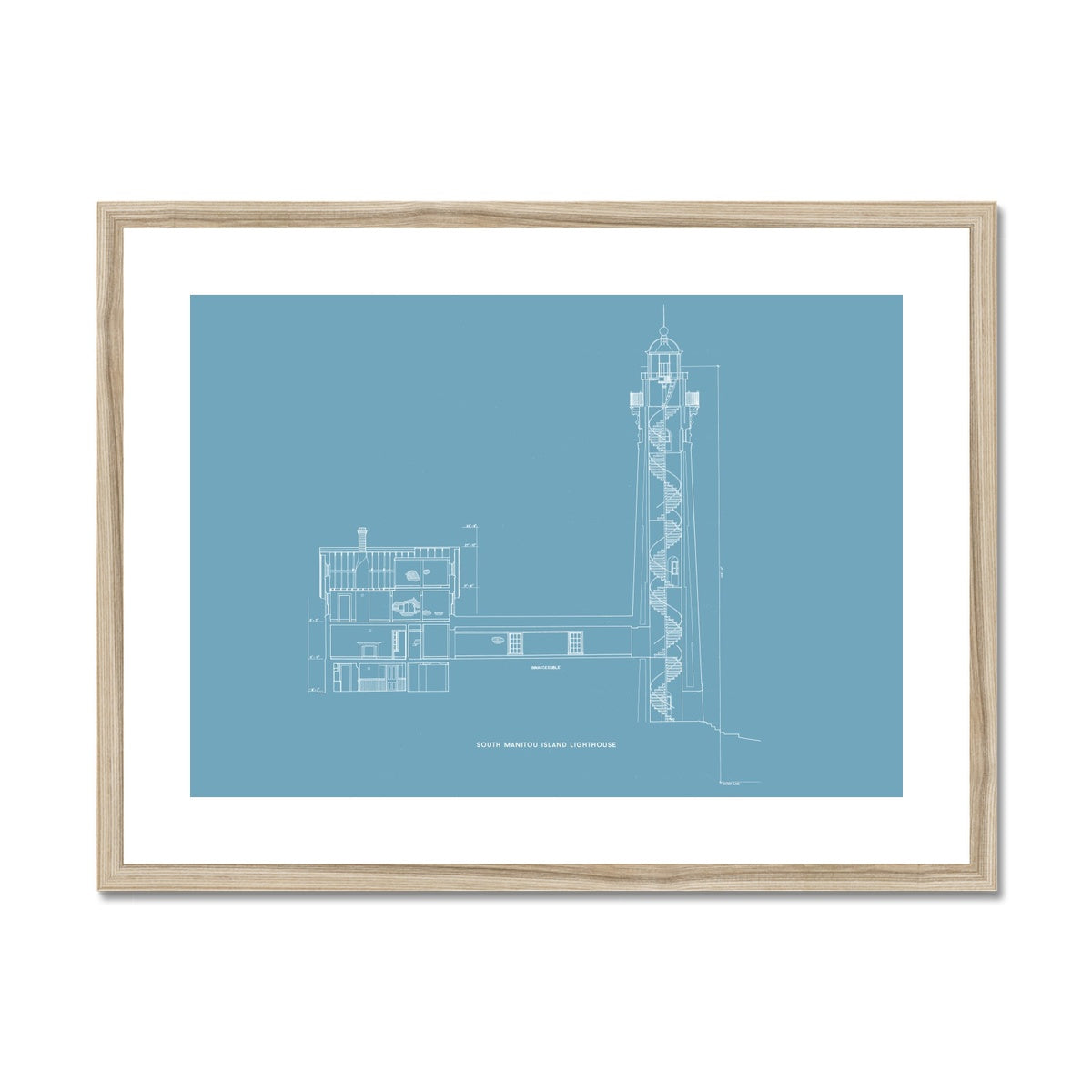 South Manitou Island Lighthouse - Cross Section - Blue -  Framed & Mounted Print