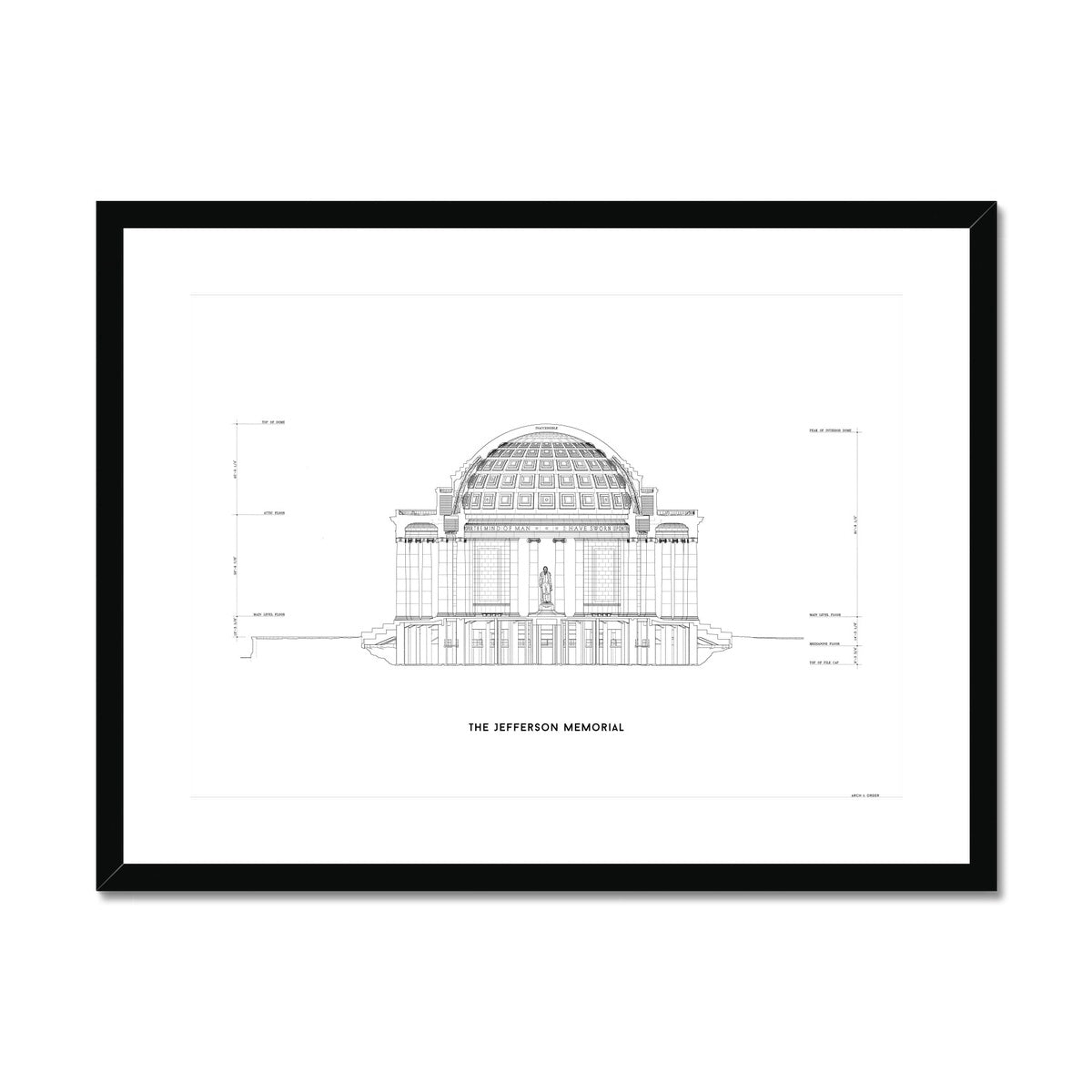 The Jefferson Memorial North Elevation Cross Section - White -  Framed & Mounted Print