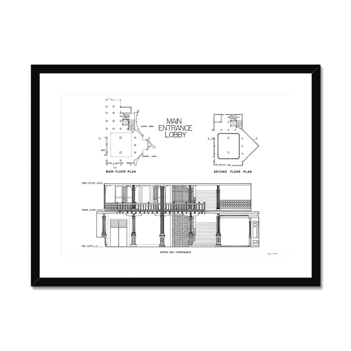 Hotel Del Coronado - Lobby Cross Section - White -  Framed & Mounted Print