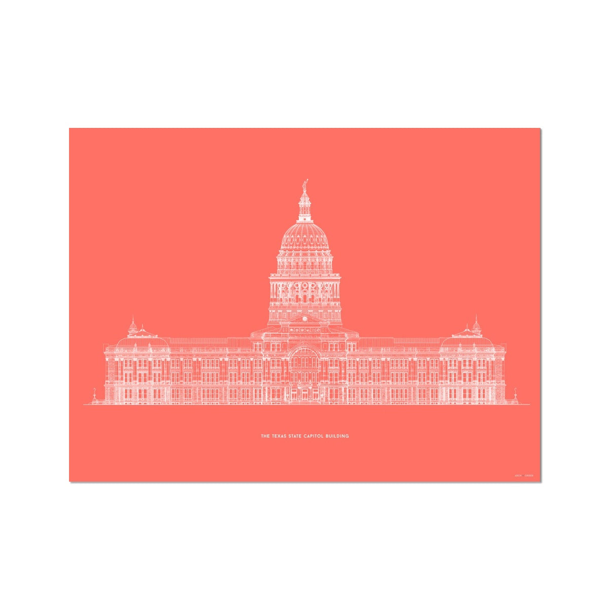 The Texas State Capitol Building - South Elevation - Red -  Etching Paper Print