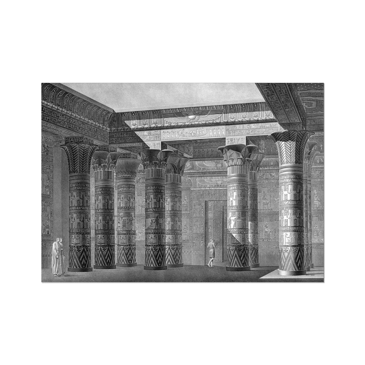 The Temple of Isis Portico Perspective - Philae Egypt -  Etching Paper Print