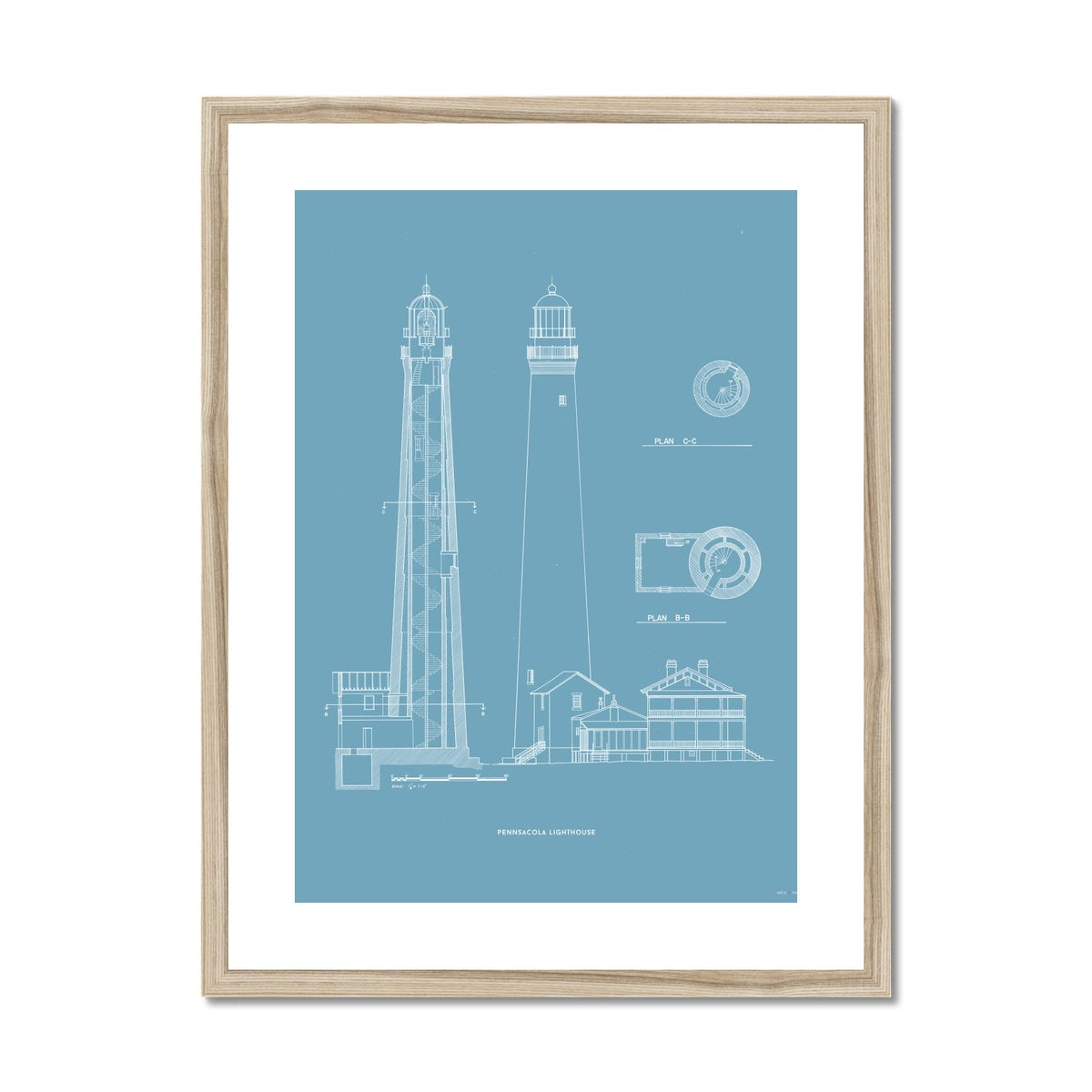 The Pensacola Lighthouse - West Elevation and Cross Section - Blue -  Framed & Mounted Print