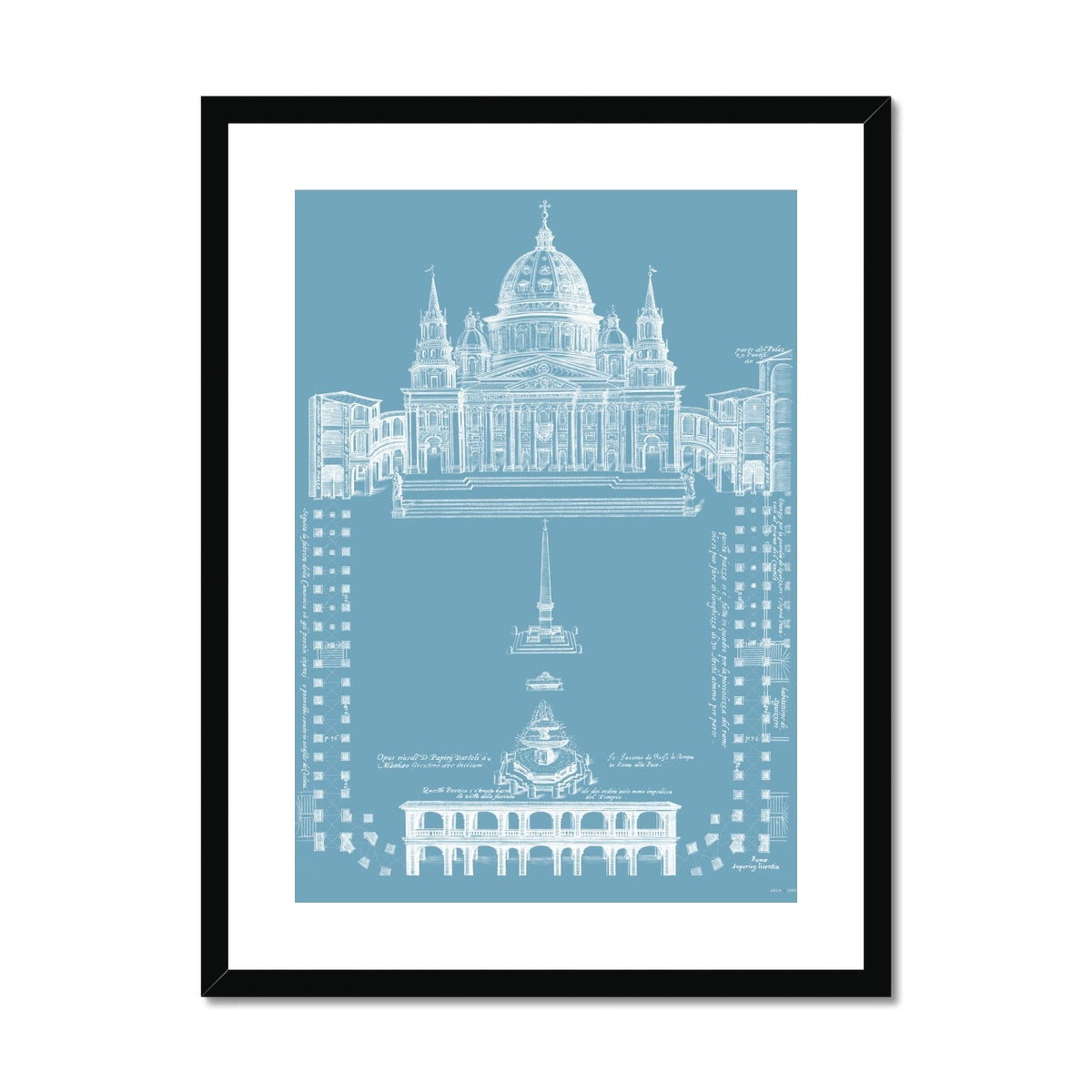 Saint Peter's Basilica - Site Plan - Blue -  Framed & Mounted Print