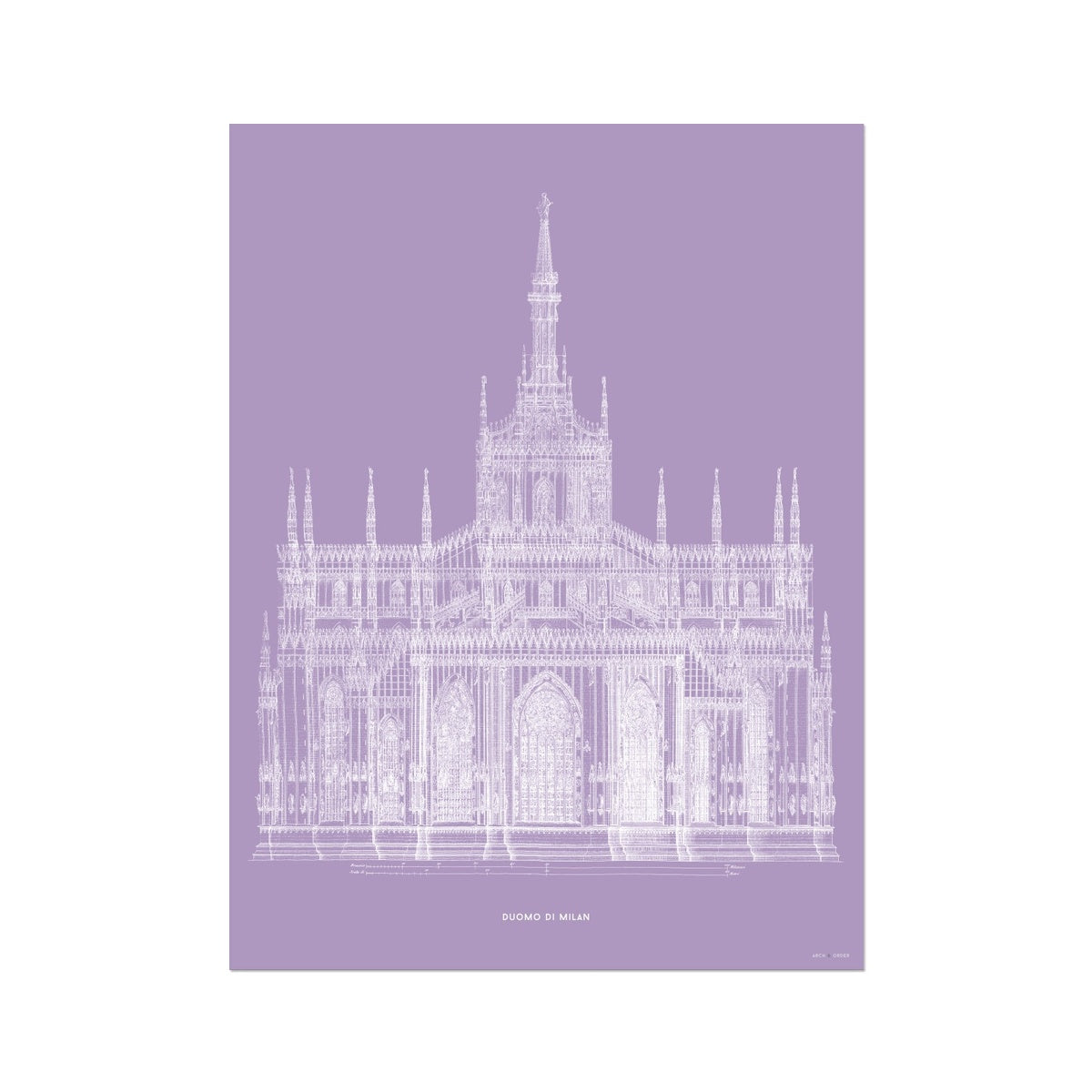 The Milan Cathedral - Primary Elevation - Lavender -  Etching Paper Print