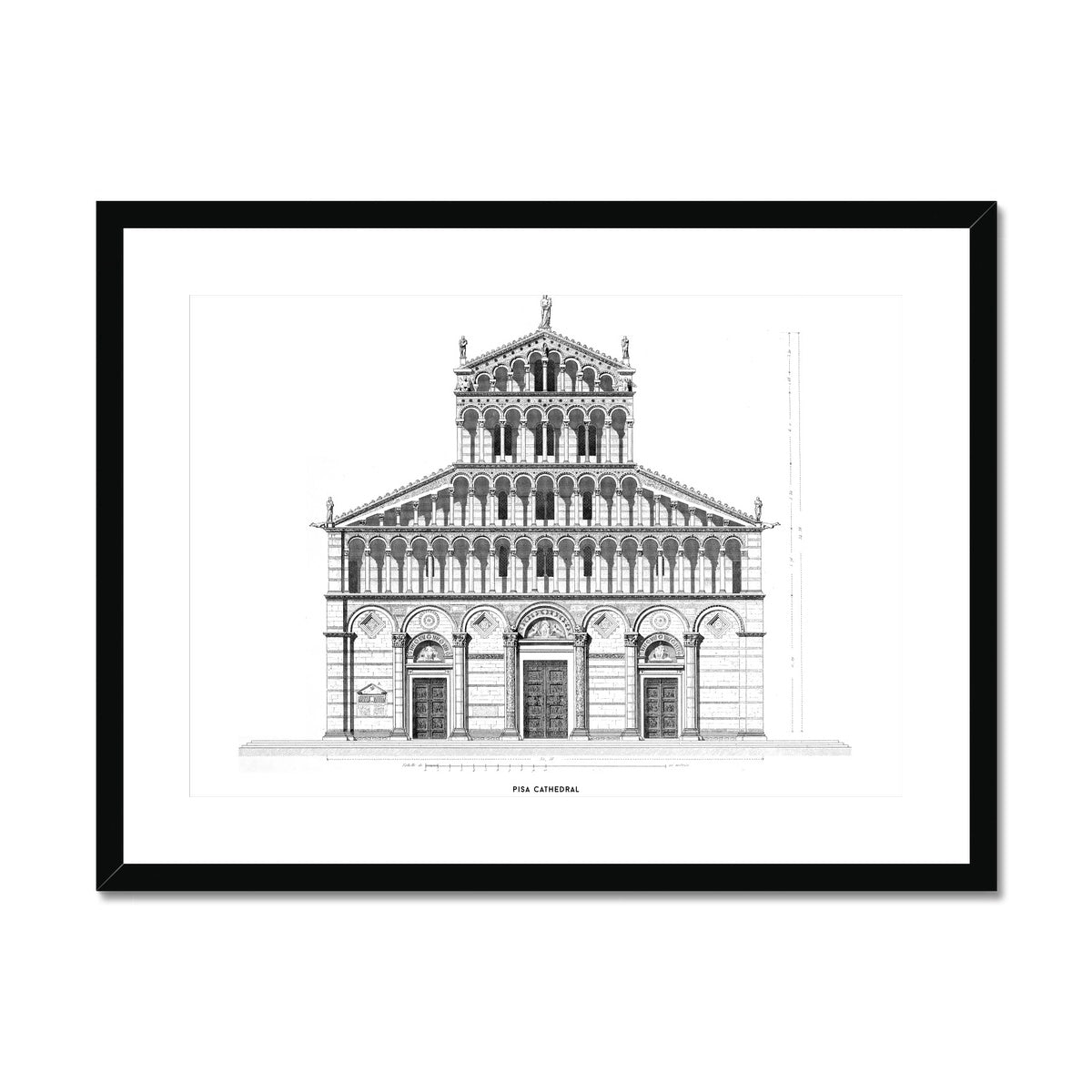 Pisa Cathedral - Primary Elevation - White -  Framed & Mounted Print