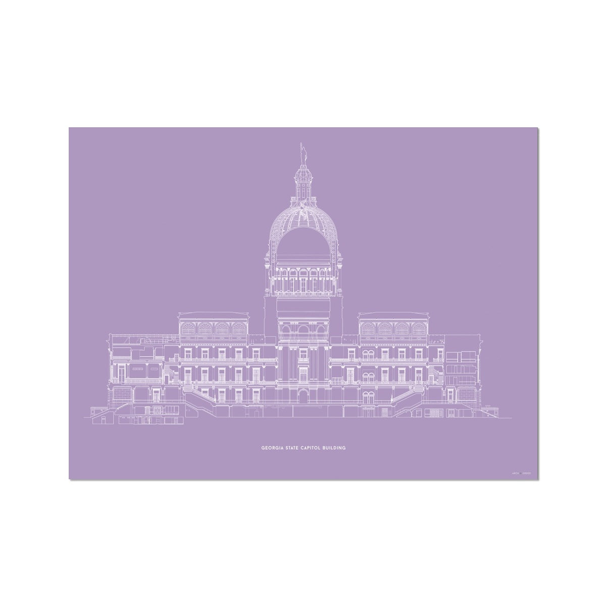The Georgia State Capitol Building - West Elevation Cross Section - Lavender - German Etching Print