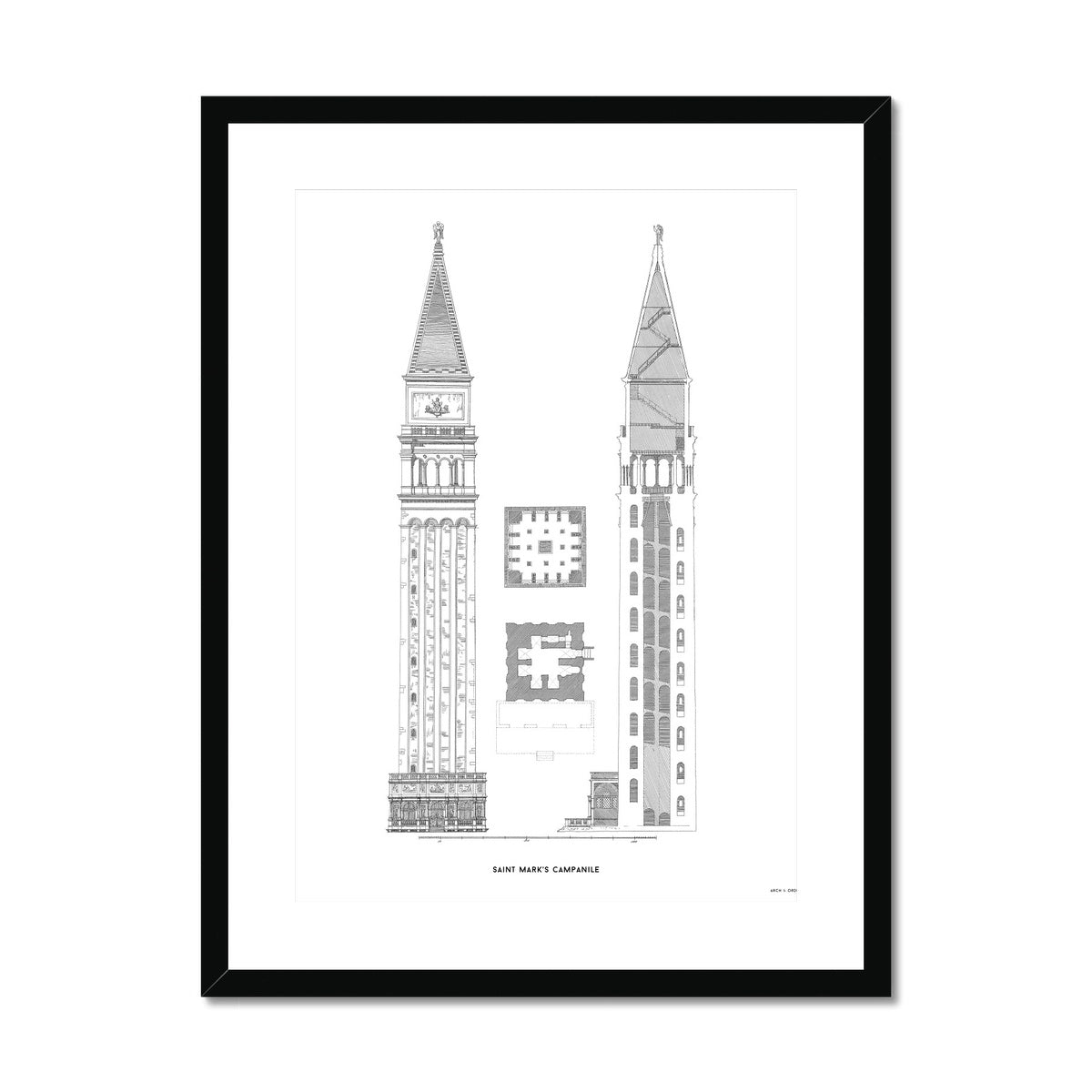 Saint Mark's Campanile - Primary Elevation - White -  Framed & Mounted Print