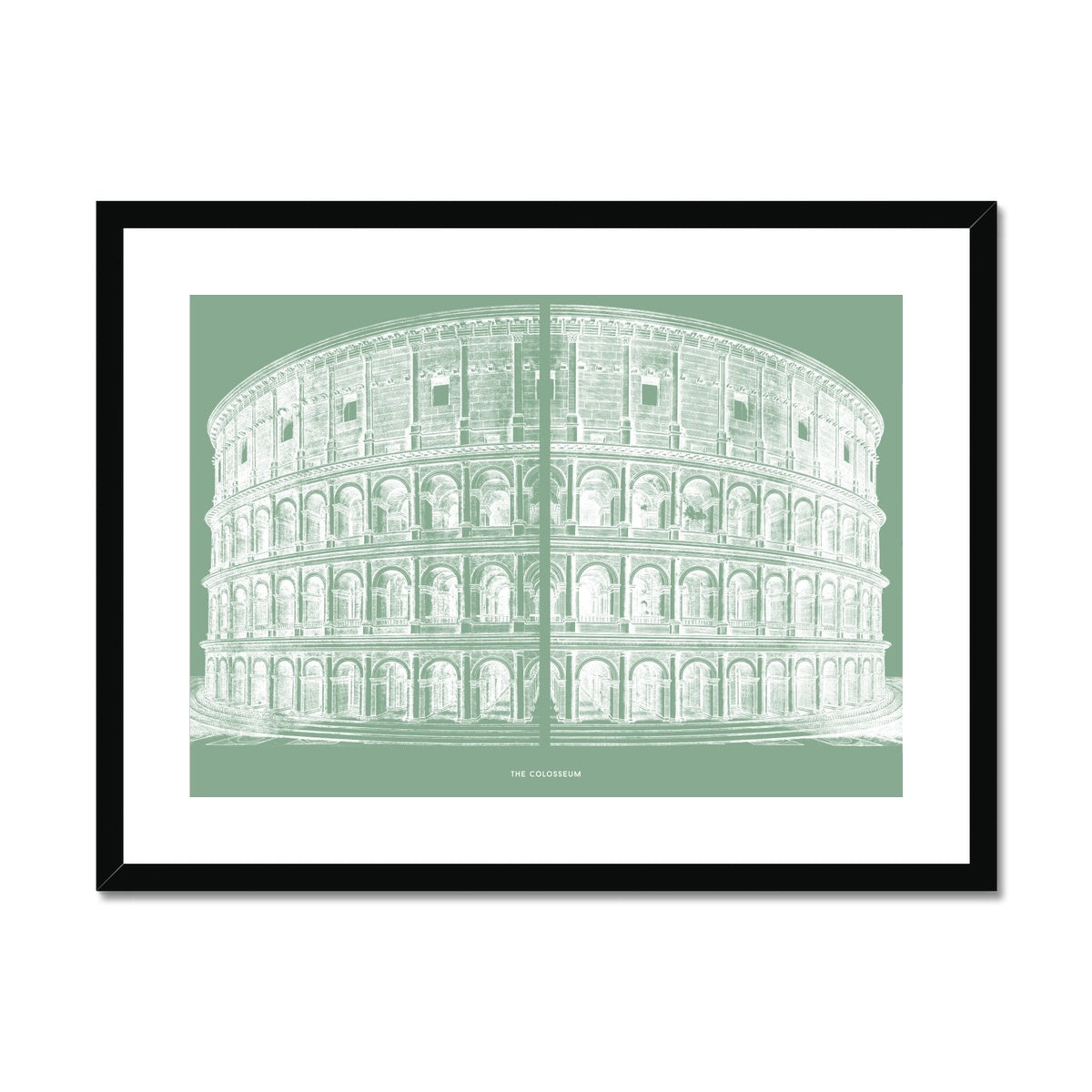 The Colosseum - Primary Elevation - Green -  Framed & Mounted Print