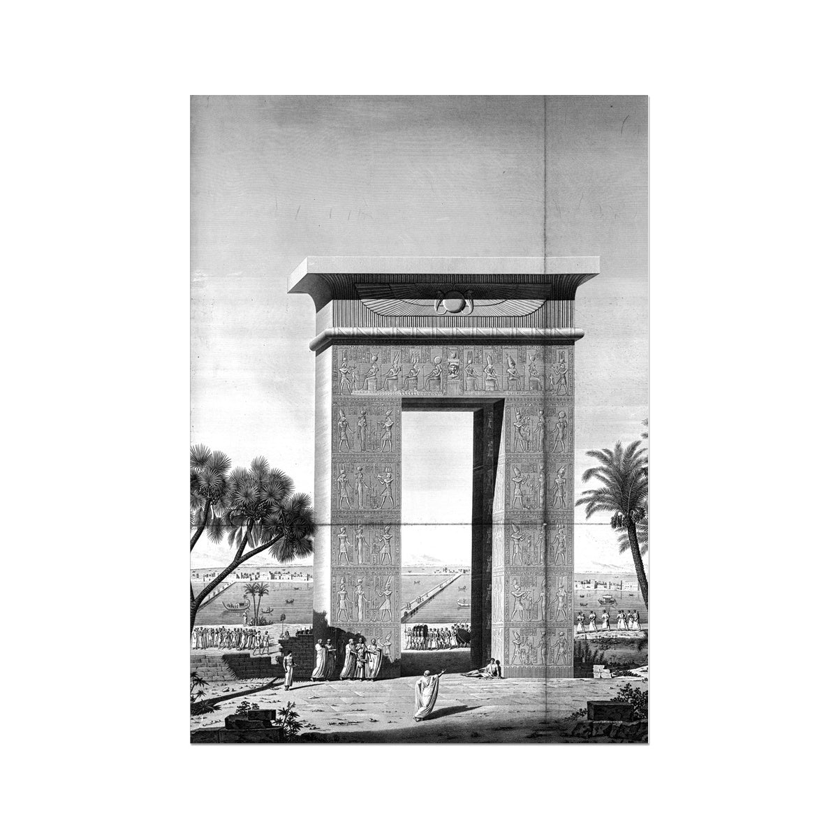 North Gate Elevation - Dendera Egypt -  Etching Paper Print