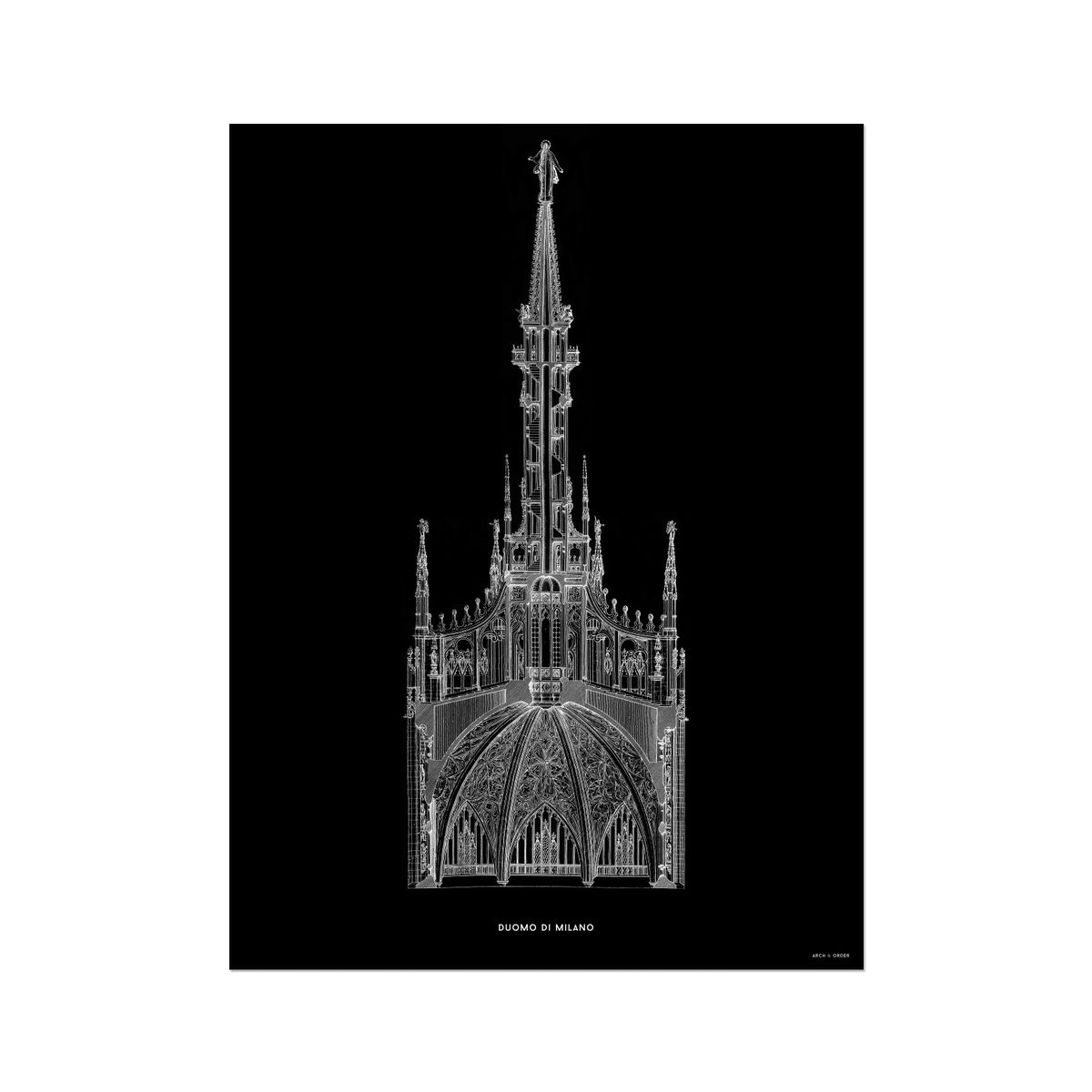 The Milan Cathedral - Detail Cross Section - Black -  Etching Paper Print