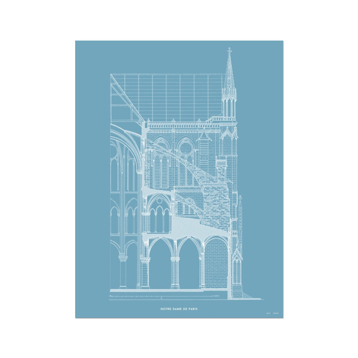 Notre Dame de Paris - Buttress Cross Section - Blue -  Etching Paper Print