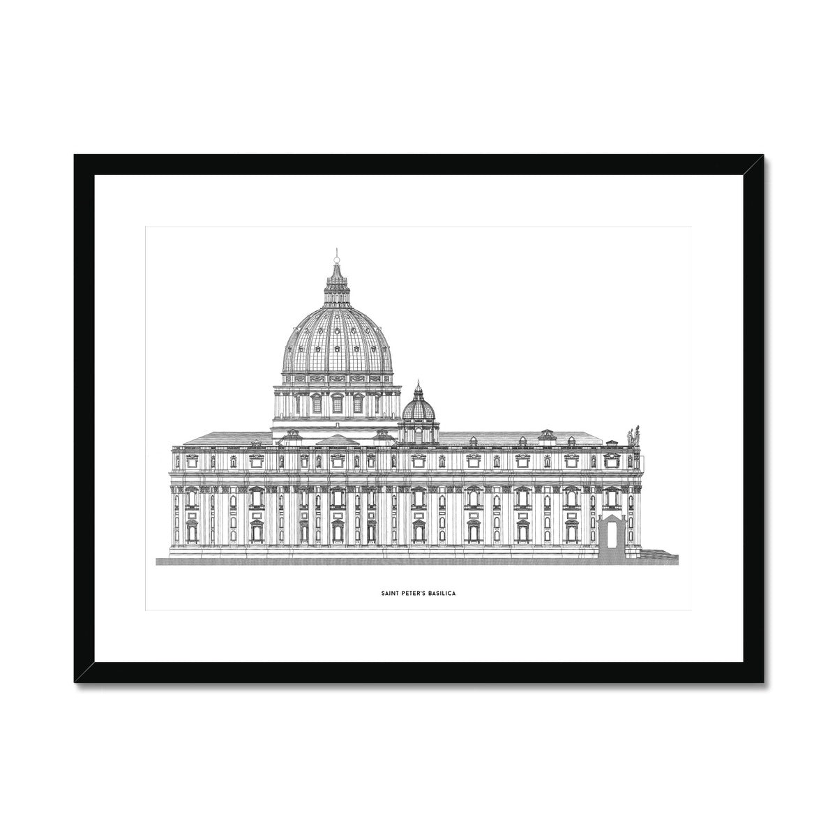 Saint Peter's Basilica - Side Elevation - White -  Framed & Mounted Print