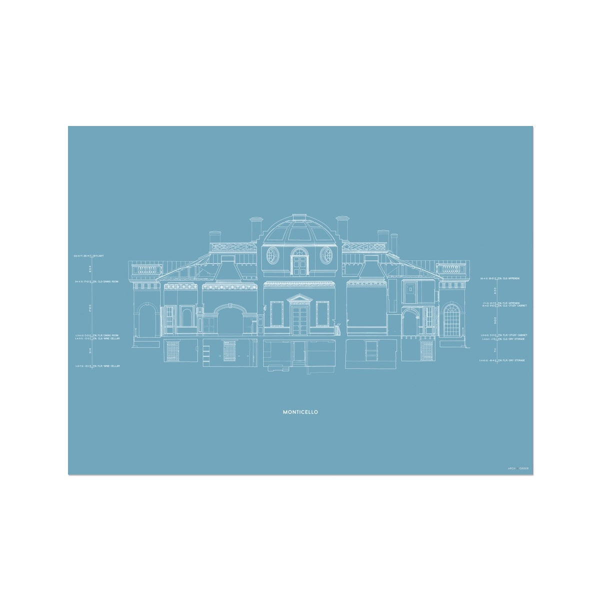 Monticello - West Elevation Cross Section - Blue -  Etching Paper Print