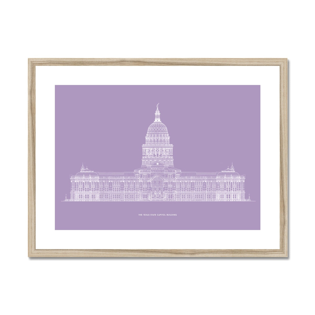 The Texas State Capitol Building - South Elevation - Lavender -  Framed & Mounted Print
