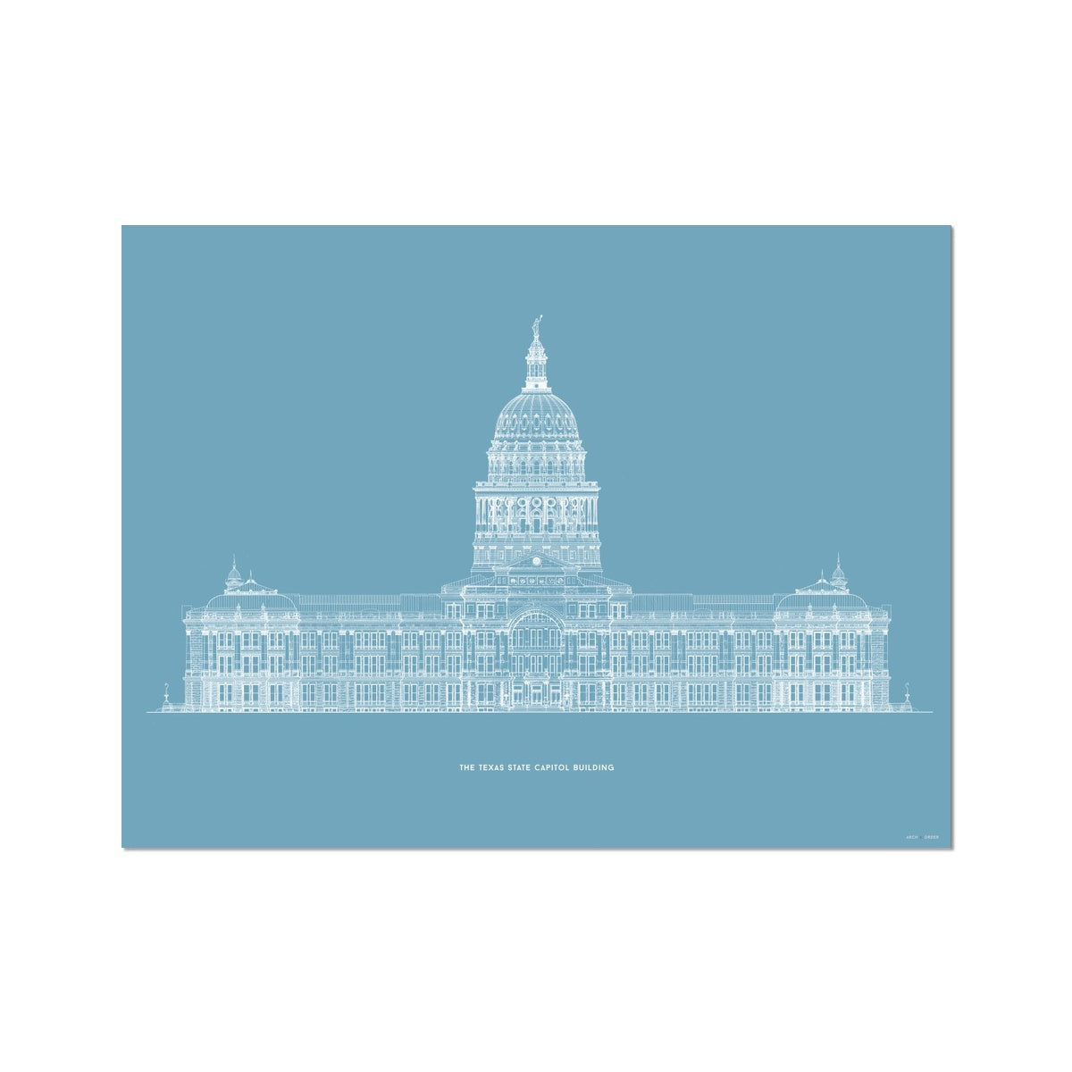 The Texas State Capitol Building - South Elevation - Blue -  Etching Paper Print