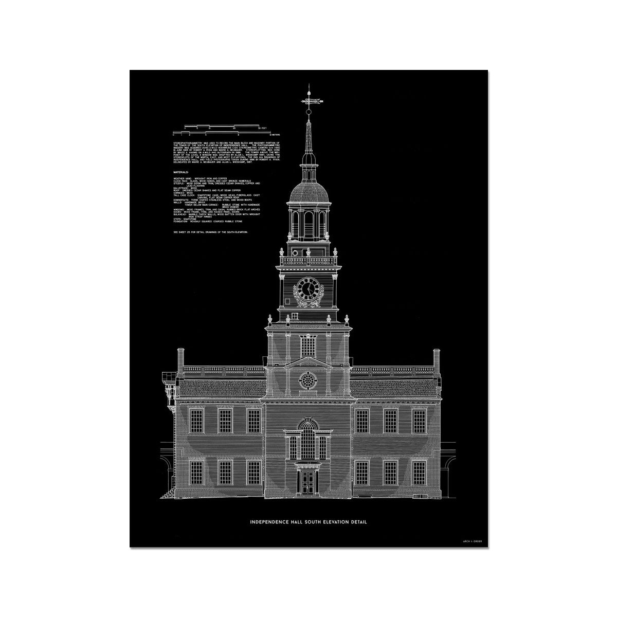 Independence Hall - South Elevation Detail - Black -  Etching Paper Print