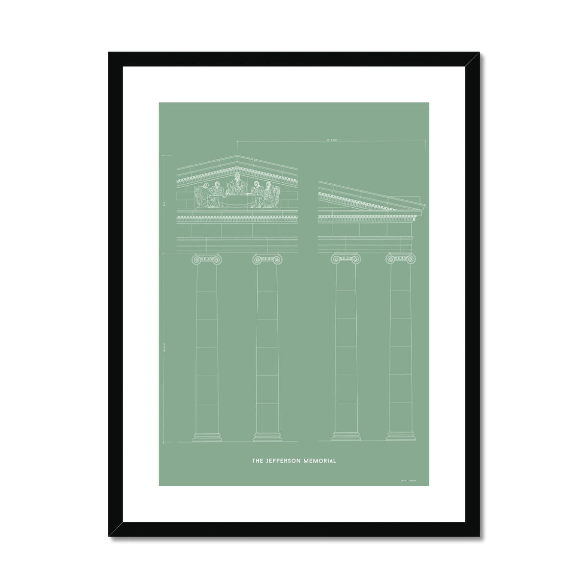 The Jefferson Memorial Portico Detail - Green -  Framed & Mounted Print
