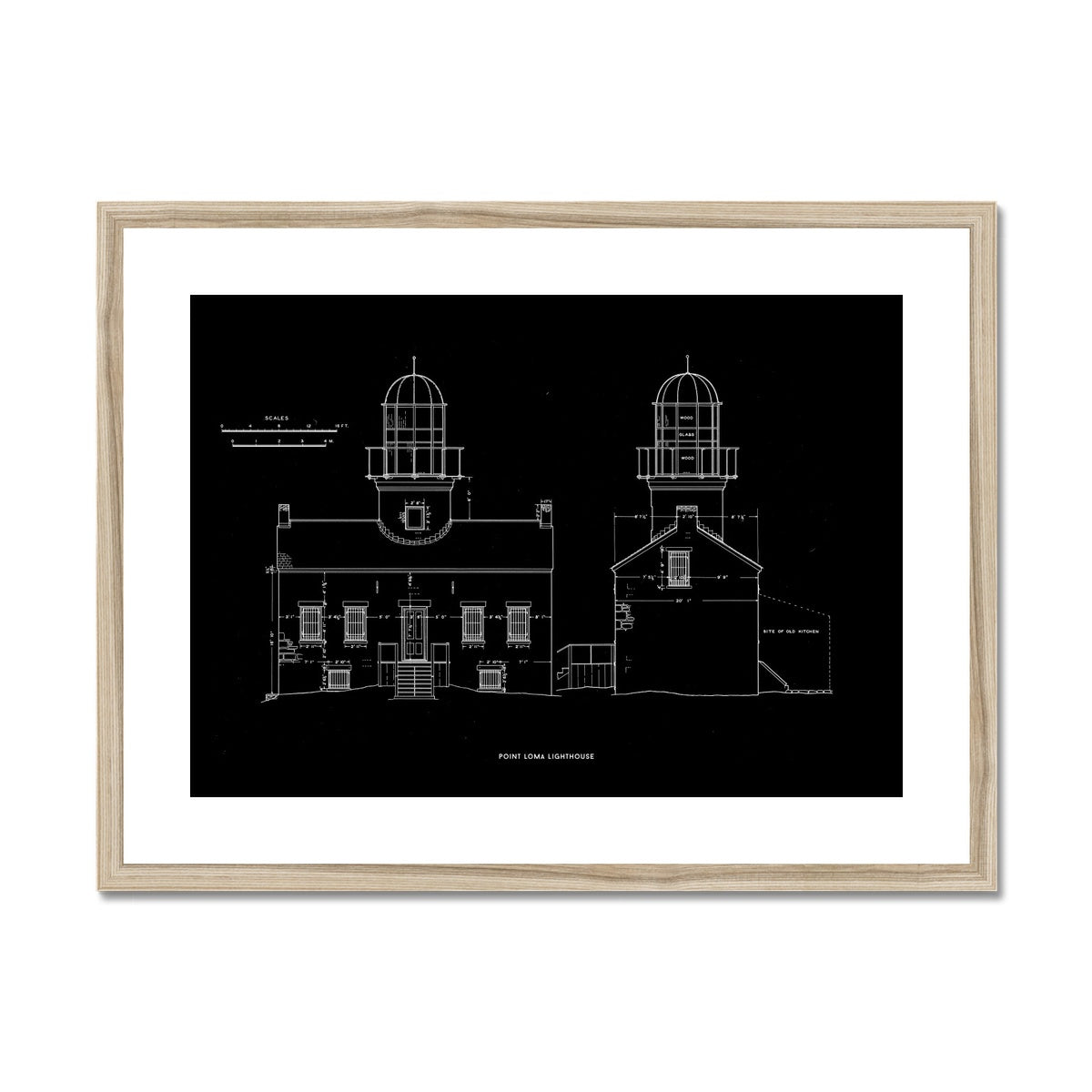 Point Loma Lighthouse - East and North Elevations - Black -  Framed & Mounted Print