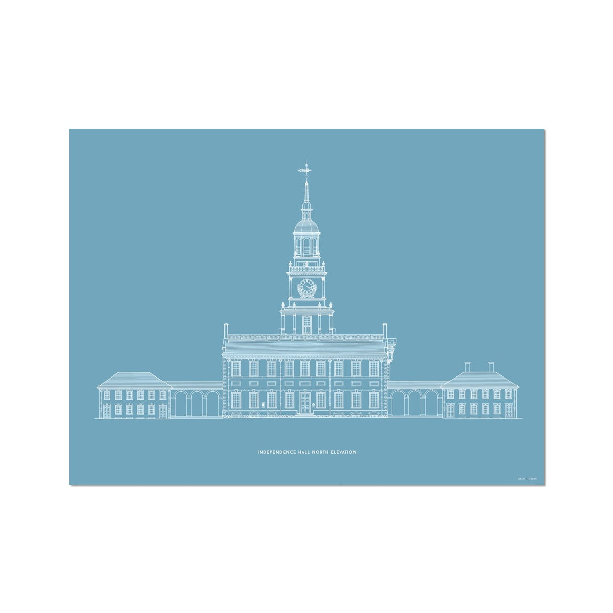 Independence Hall - North Elevation - Blue -  Etching Paper Print