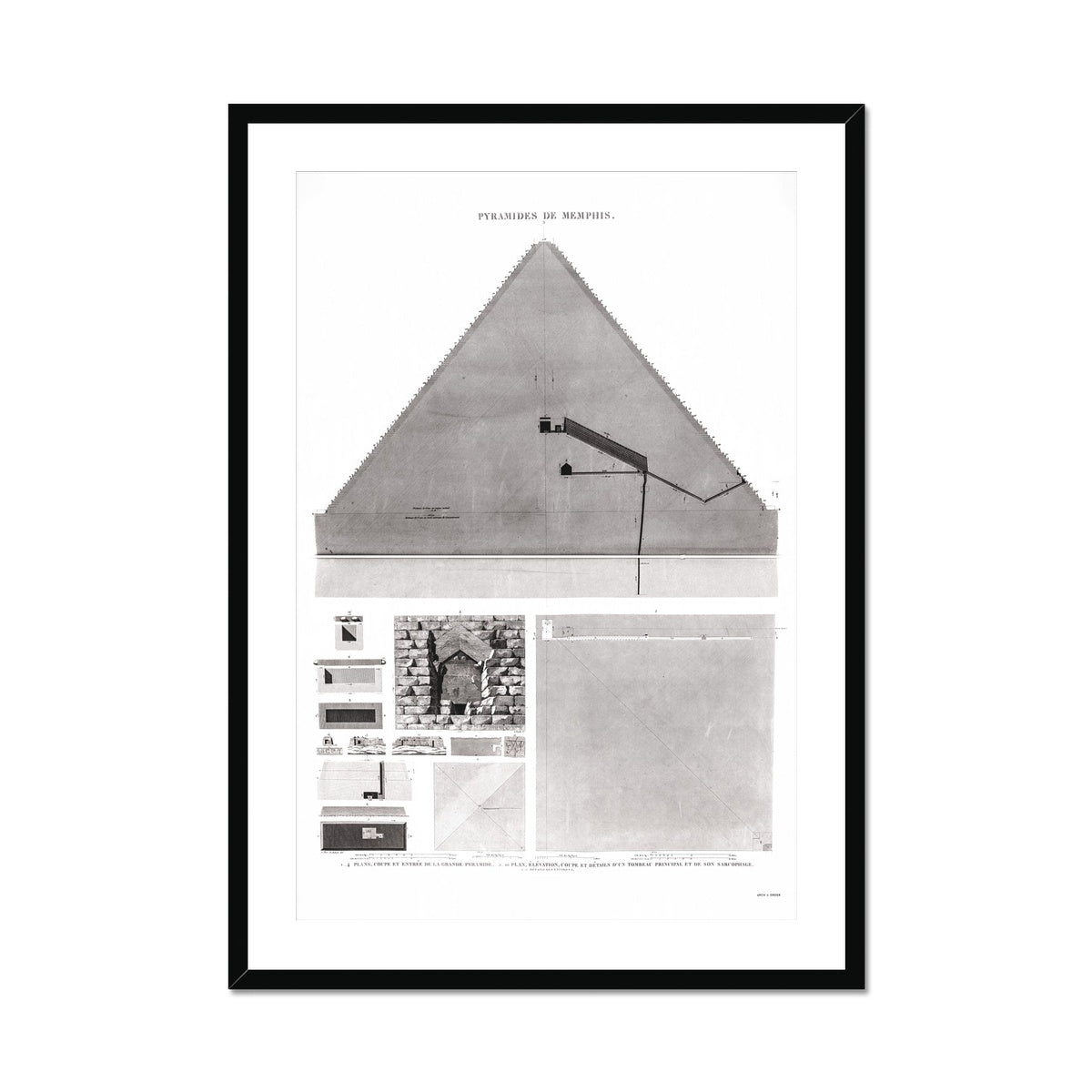 The Great Pyramid of Giza Cross Section - Memphis Egypt -  Framed & Mounted Print
